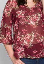 Plus Size Amber Sheer Floral Top in Burgundy