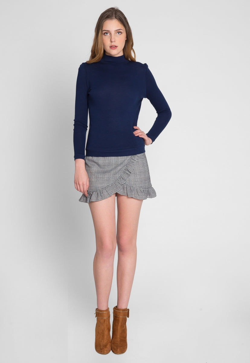 Astrid Turtleneck Sweater Top in Navy - Shirts & Blouses - Wetseal