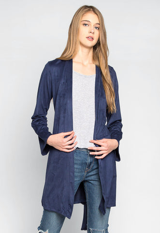 Soda & Lime Faux Suede Cardigan in Navy