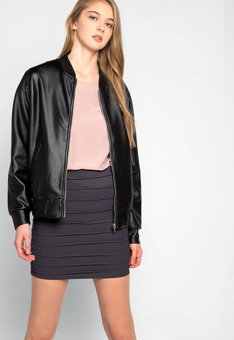 Power Play Faux Leather Bomber Jacket in Black