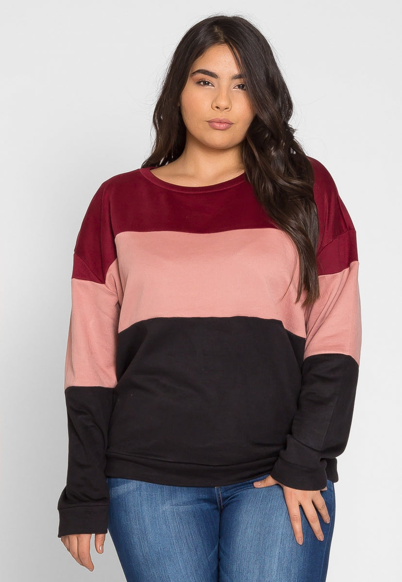 Plus Size Rhys Colorblock Pullover Sweater - Plus Outerwear - Wetseal