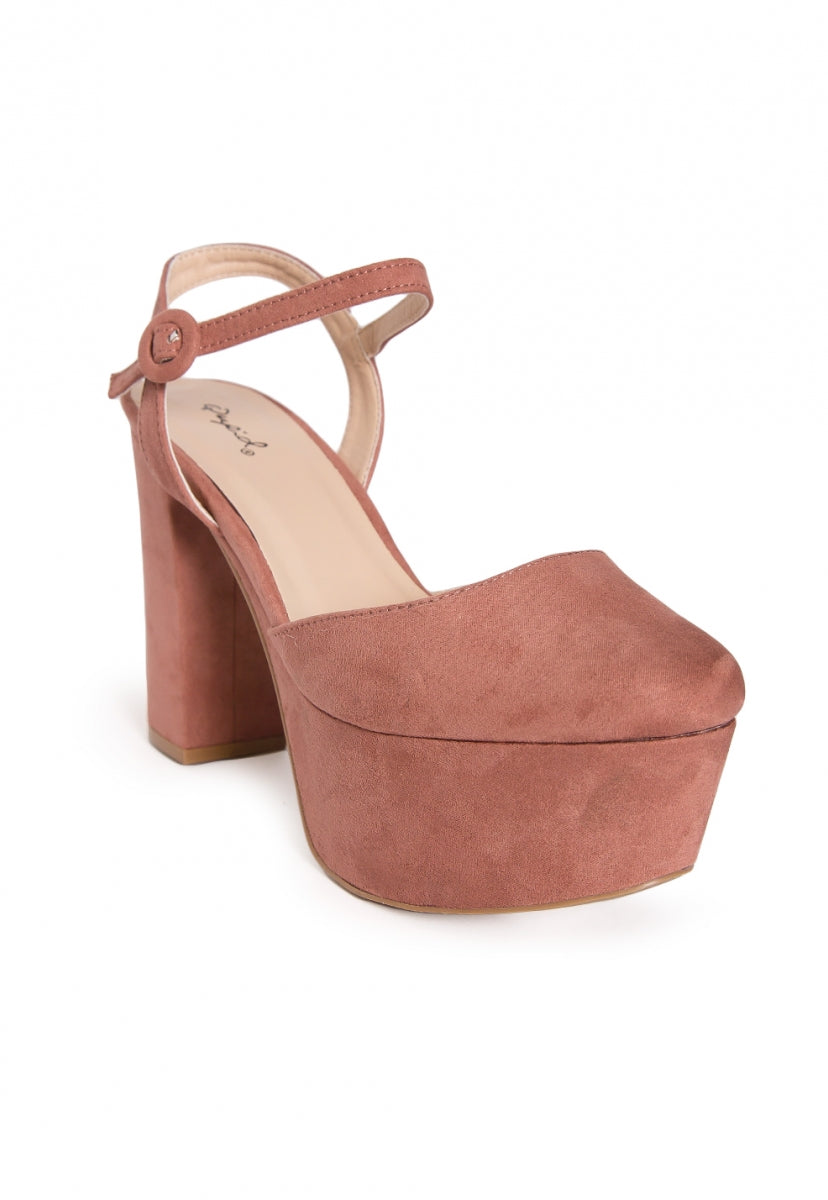 Abbott Ankle Strap Platform Heels in Light Pink - Shoes - Wetseal