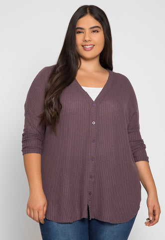Plus Size Emily Buttoned Cardigan in Purple