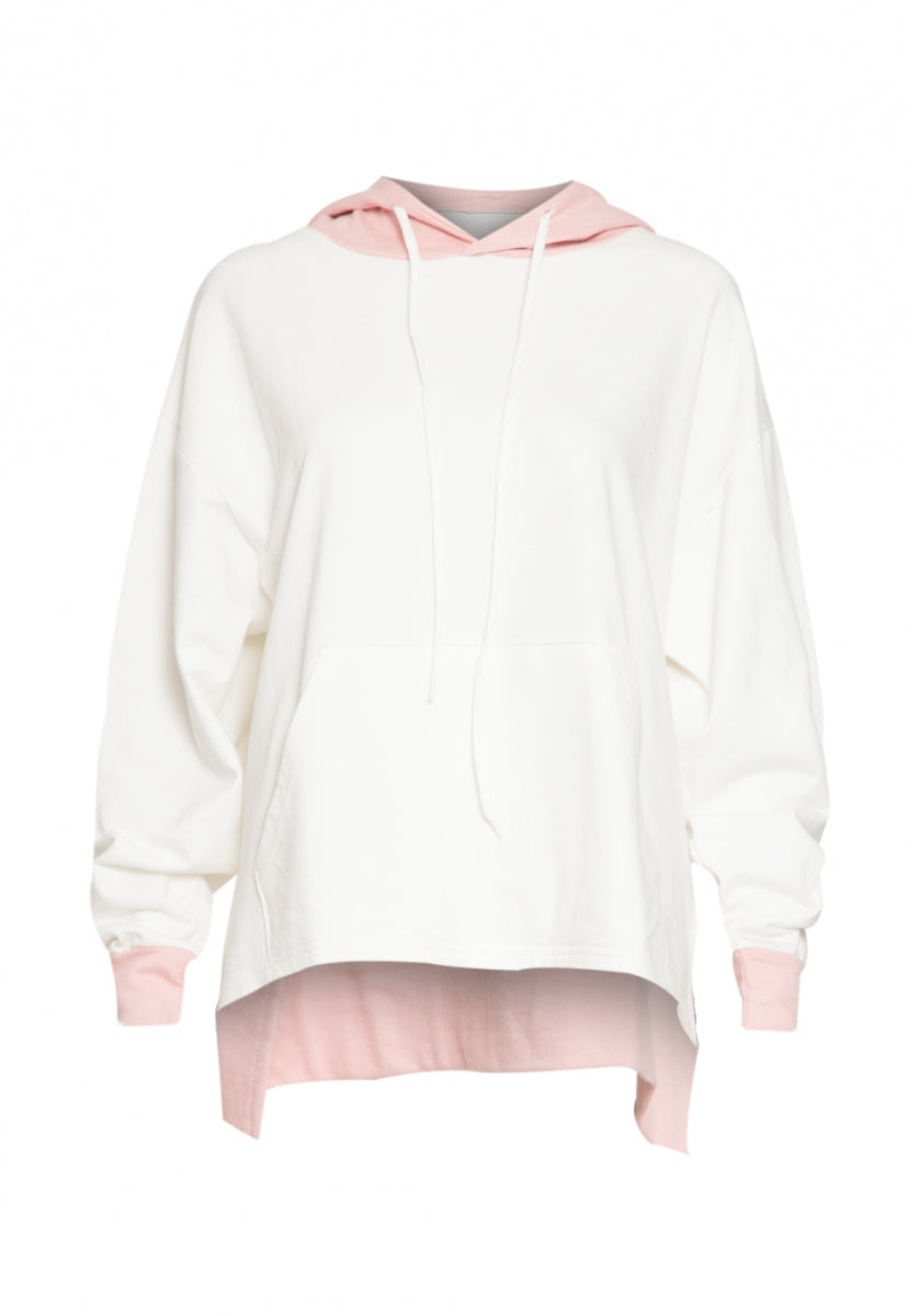 Sunny Day Colorblock Hoodie in White - Sweaters & Sweatshirts - Wetseal