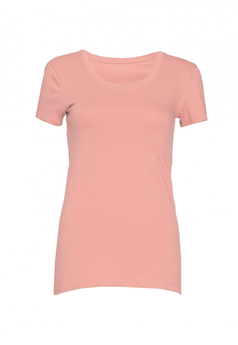 Essentials Scoop Neck Tee in Rose - T-shirts - Wetseal