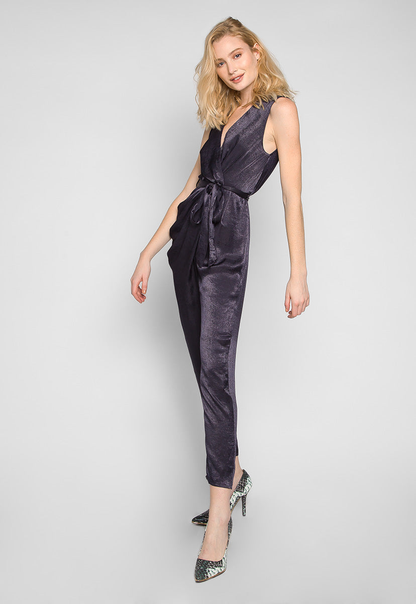 Young & Beautiful Wrap Belted Jumpsuit in Black - Rompers & Jumpsuits - Wetseal