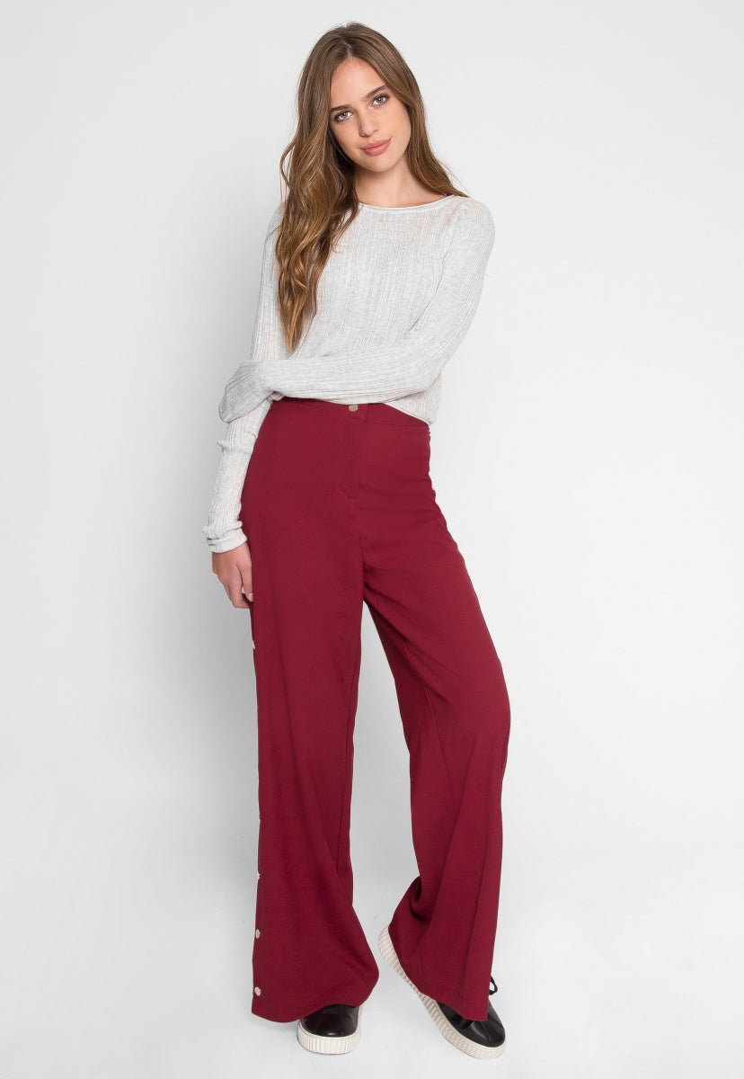 Trim Detail Palazzo Pants in Burgundy - Pants - Wetseal