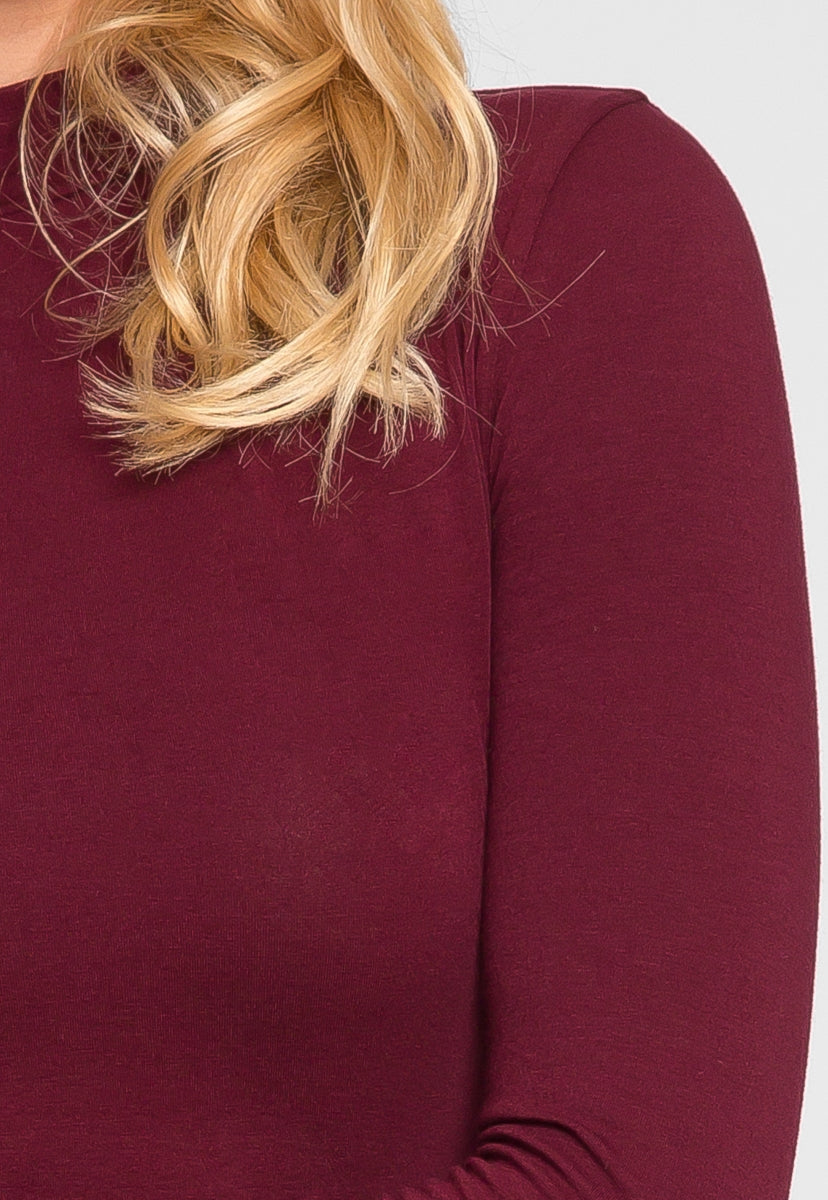 Sue Mock Neck Long Sleeve Top in Burgundy - T-shirts - Wetseal