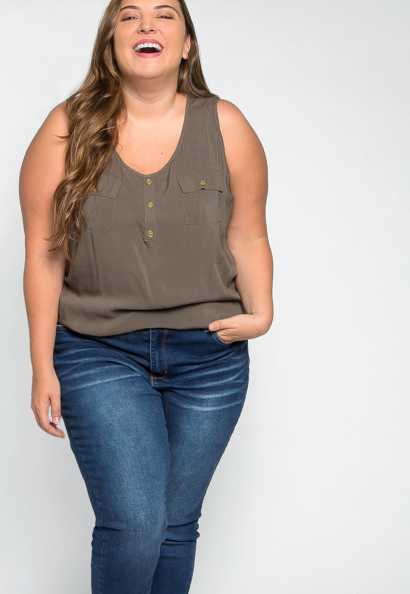 Plus Size Premonition Sleeveless Blouse in Ash Olive - Plus Tops - Wetseal