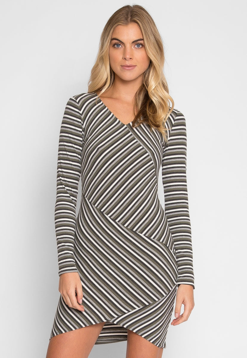 Be With You Stripe Bodycon Dress in Green - Dresses - Wetseal
