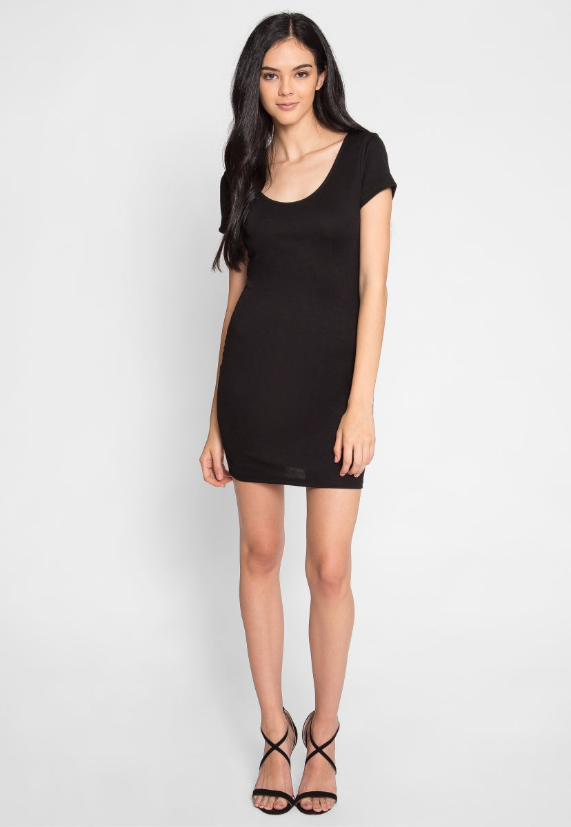 Villa Cap Sleeve Dress in Black - Dresses - Wetseal