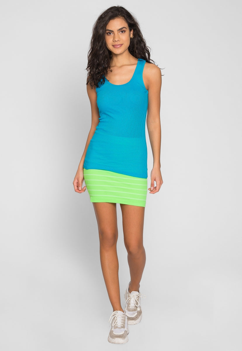 Riley Rib Knit Tank Top in Aqua - Tanks - Wetseal