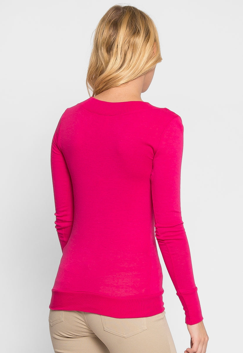 Perfect V Neck Sweater in Pink - Sweaters & Sweatshirts - Wetseal