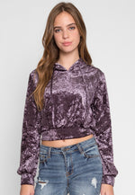 Neptune Crop Velvet Hoodie in Purple