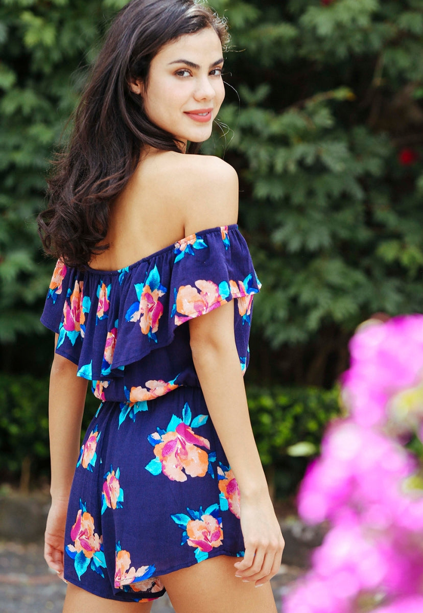 Child's Play Floral Romper in Navy - Rompers & Jumpsuits - Wetseal