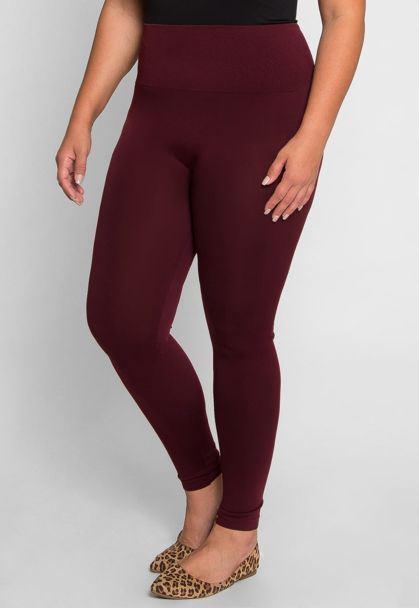 Plus Size Wide Band Leggings in Burgundy - Plus Bottoms - Wetseal