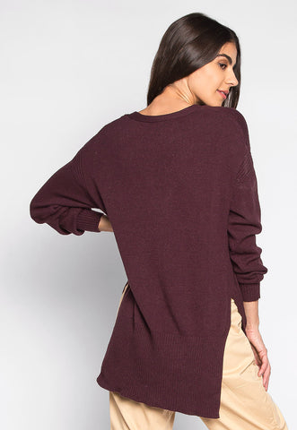 Ariana Step Hem Lattice Sweater in Purple