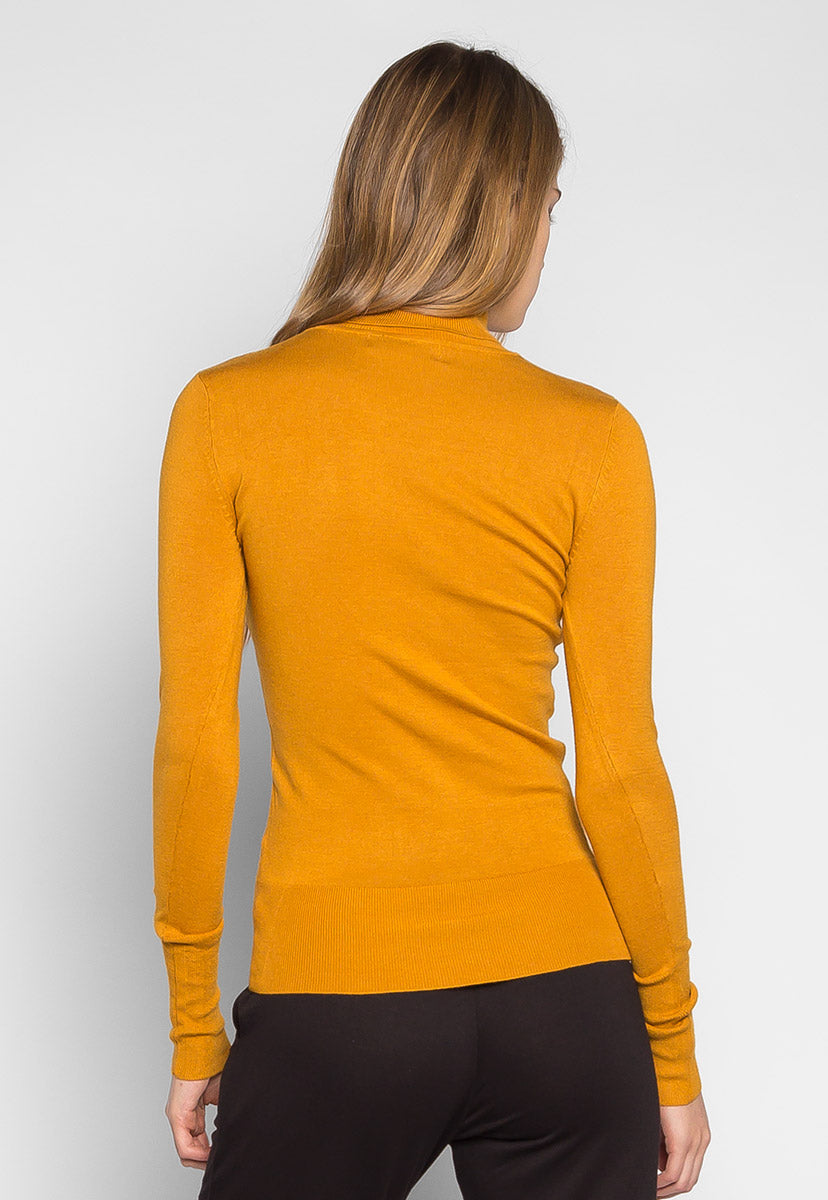After Hours Turtleneck Sweater in Mustard - Sweaters & Sweatshirts - Wetseal