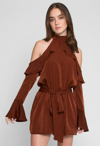 Caramel Cold Shoulder Romper