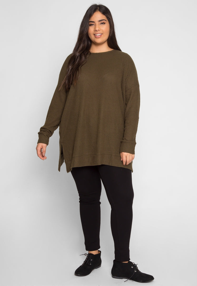 Plus Size Bae Thermal Top in Green - Plus Tops - Wetseal