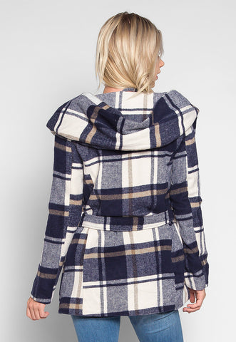 Glacier Hooded Plaid Coat