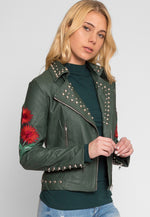 Wilderness Studded Leather Jacket in Green