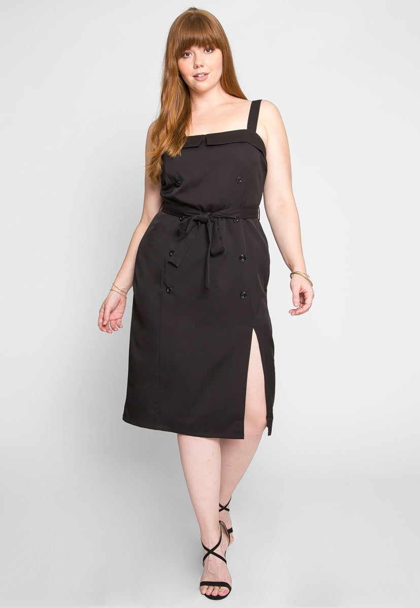 Plus Size Mystery Button Front Dress - Plus Dresses - Wetseal