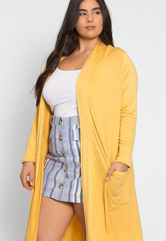 Plus Size Catalena Longline Cardigan in Yellow