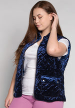 Plus Size Mountain Call Quilted Vest in Navy