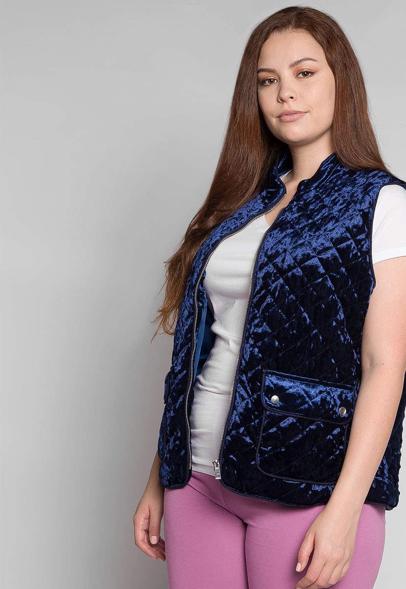Plus Size Mountain Call Quilted Vest in Navy - Plus Outerwear - Wetseal