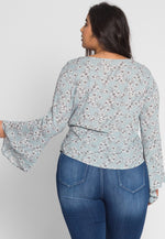 Plus Size Maddy Floral Wrap Top in Sage