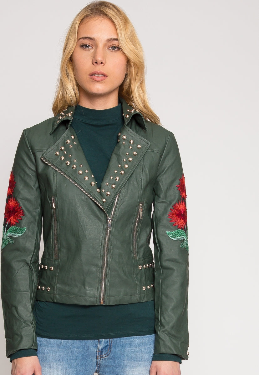 Wilderness Studded Leather Jacket in Green - Jackets & Coats - Wetseal