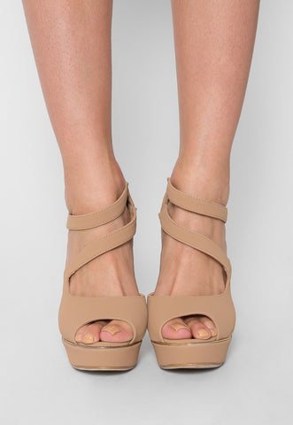 Melody Strappy Heels in Beige