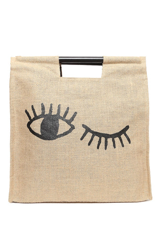 Eye Wink Burlap Tote Bag