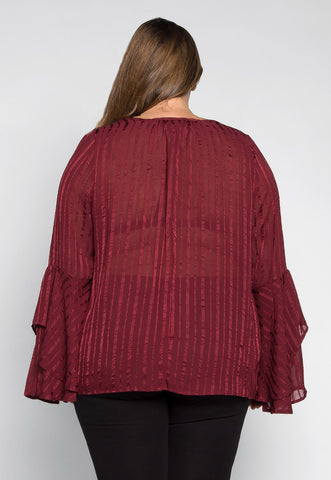 Plus Size Girl Crush Stripe Sheer Blouse