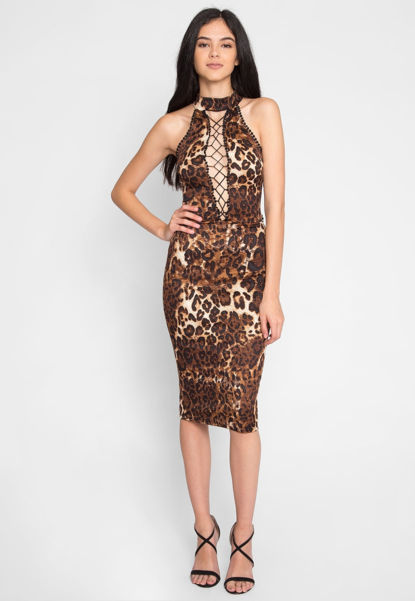 Belhurst Leopard Midi Dress - Dresses - Wetseal