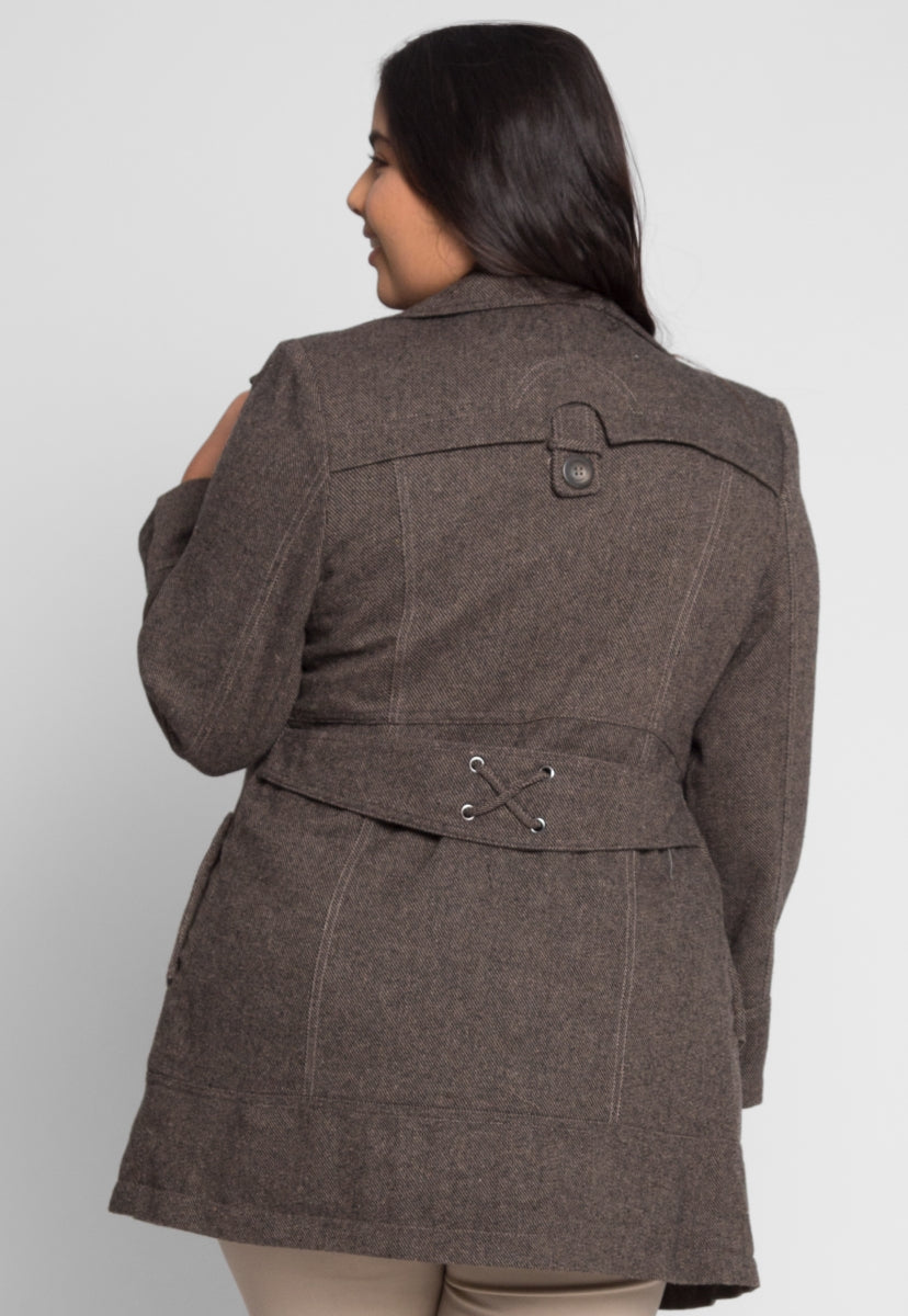 Plus Size Park Avenue Herringbone Coat - Plus Outerwear - Wetseal