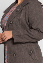 Plus Size Park Avenue Herringbone Coat