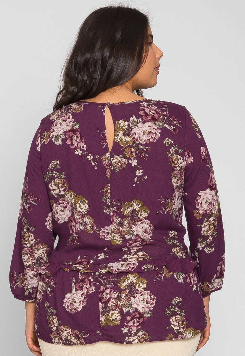 Plus Size Floral Long Sleeve Blouse in Purple - Plus Tops - Wetseal
