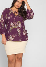 Plus Size Floral Long Sleeve Blouse in Purple