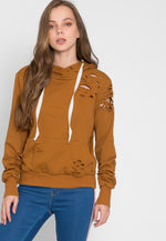 Camel Distressed Oversized Hoodie