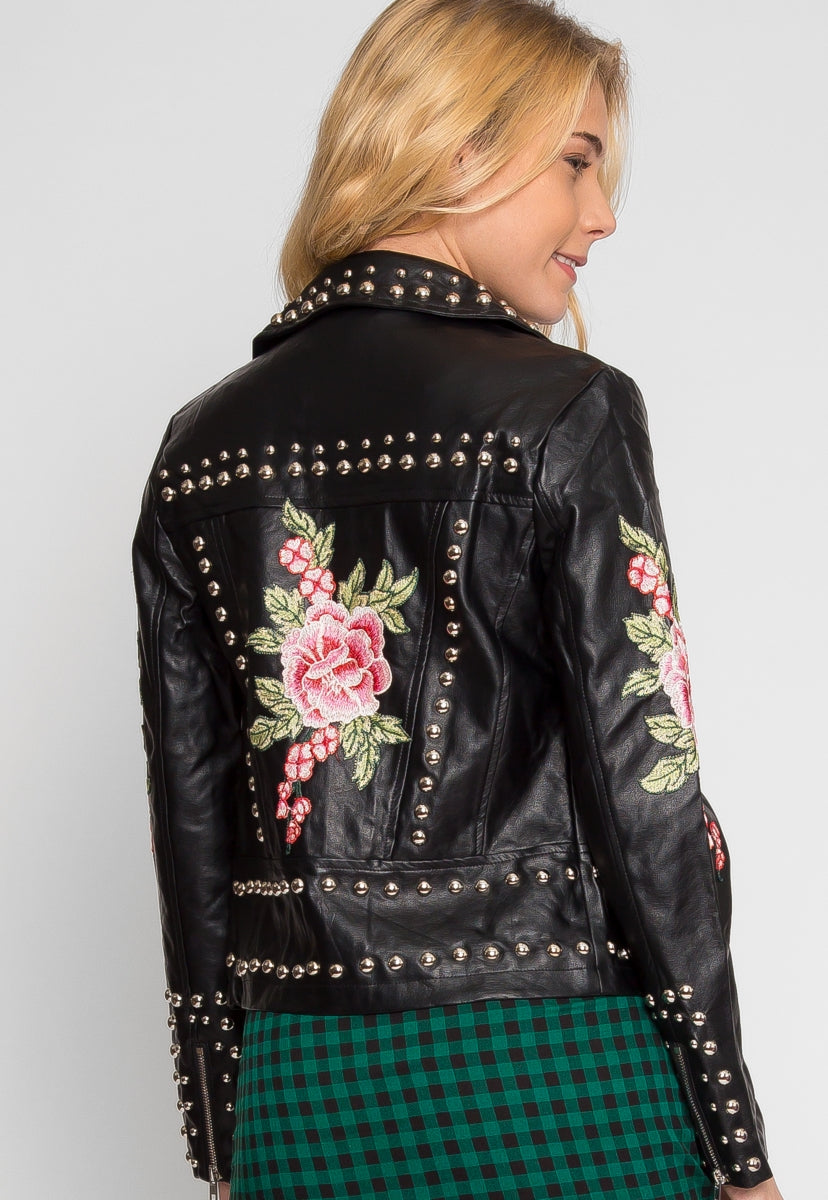 Rush Applique Leather Jacket in Black - Jackets & Coats - Wetseal