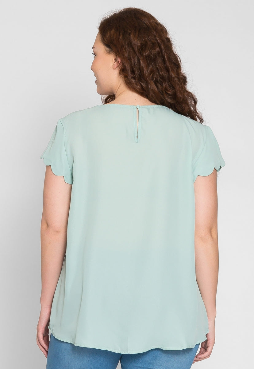 Plus Size Clouds Scallop Edge Top in Mint - Plus Tops - Wetseal