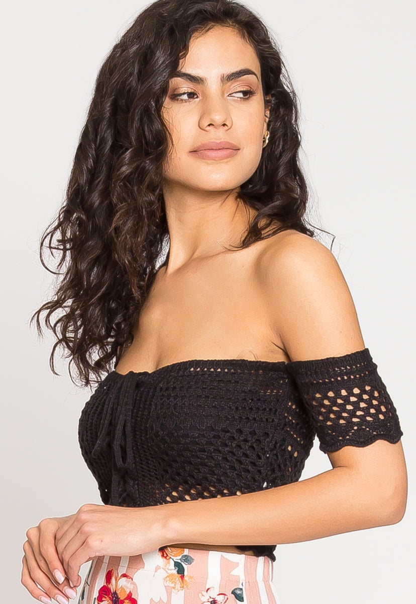 Puerto Crochet Off Shoulder Crop Top in Black - Crop Tops - Wetseal