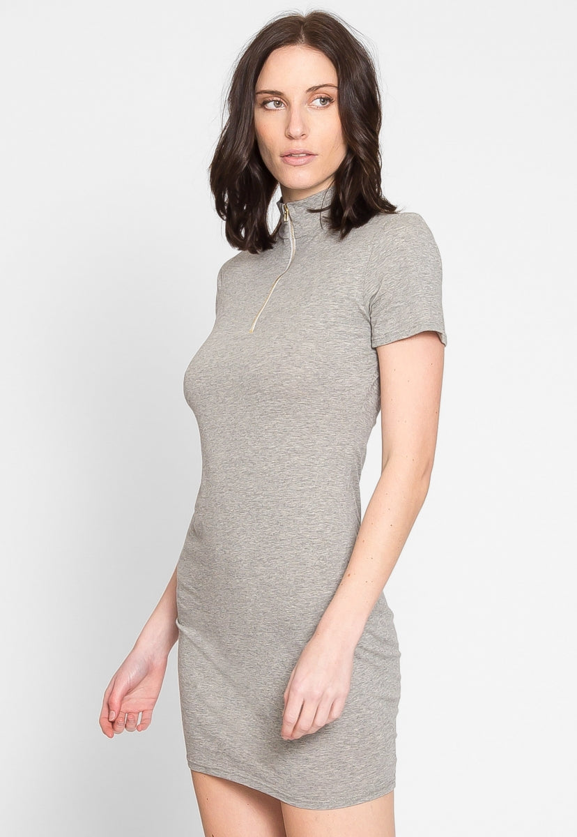 Need It Zip Front Bodycon Dress in Gray - Dresses - Wetseal