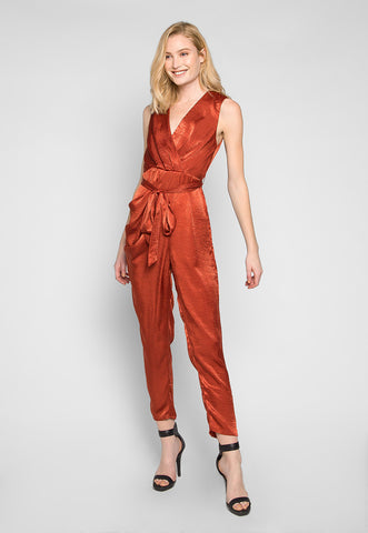Young & Beautiful Wrap Belted Jumpsuit in Rust