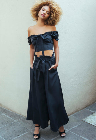 Wicked Wide Leg Pant Two Piece Set in Black