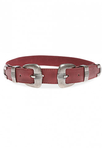 Burgundy Faux leather double buckle Belt
