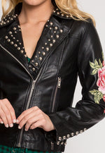 Rush Applique Leather Jacket in Black