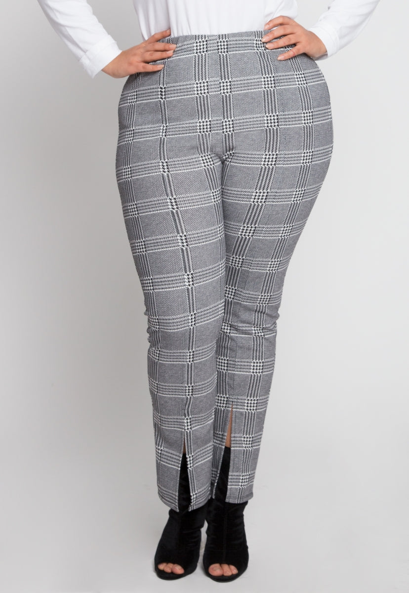 5154e48b376 Plus Size Plaid High Waist Pants